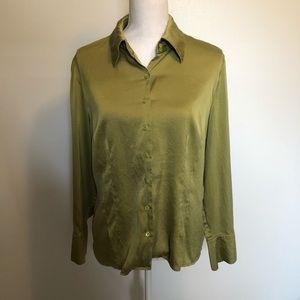Talbots silk green dressy long sleeved blouse